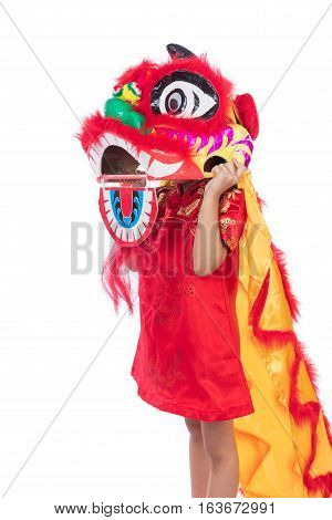 Asian Chinese Little Girl With Lion Dance Costume