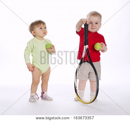 little funny tennis player on white background