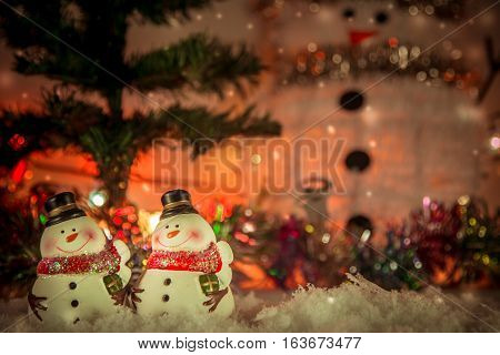 Snowman And Ornament In Snow Christmas Item