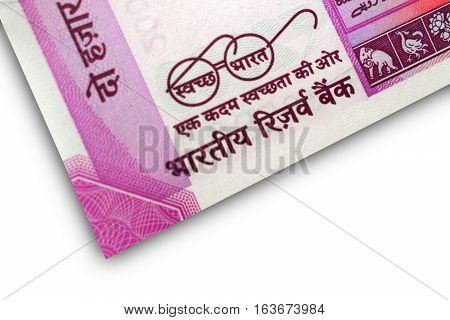 Indian Bank Note INR 2000 with Swatchh Bharat meaning clean India slogan written on it with eye glasses of Mahatma Gandhi ,father of Nation