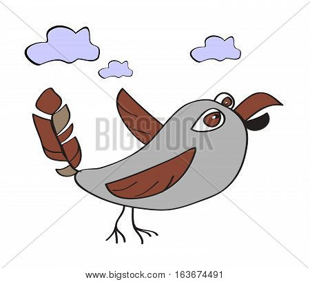 Funny primitive bird in flight and clouds. Funny character - a sparrow for design logo site children's products.