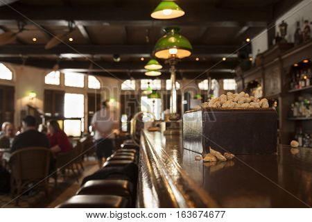 Classic bar counter with blurred background. Warm color