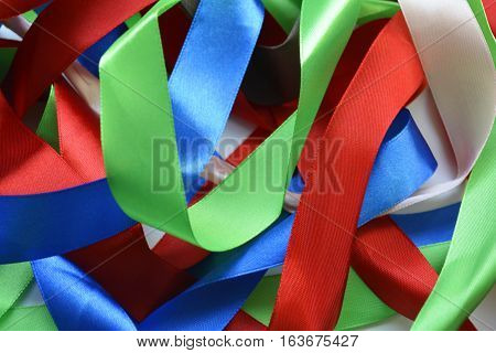 silk ribbon of different colors, color ribbon
