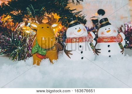 Snowman stand in pile of snow Ornament Christmas