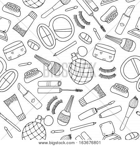 Vector hand drawn doodle cosmetics seamless pattern , background. Outline style
