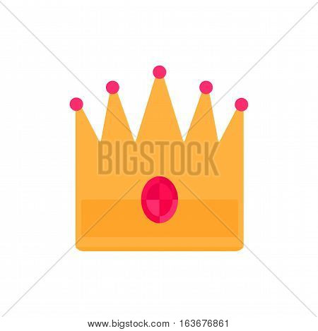 Vector illustration golden crown with red gemstone isolated on white. Treasure elegance icon and success authority. Gold majestic decoration and kingdom jewelry.
