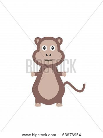 Ape illustration as a funny character. Cute mammal animal with long tail. Small cartoon creature isolated object in flat design on white background.