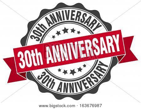 30th anniversary. stamp. sign. seal. round. retro. ribbon