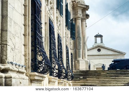 Close up view of Auberge de Castille - one of Valletta's most magnificent buildings Valletta Malta