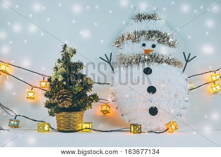 Snowman And Santa Clause In Snow Christmas Item