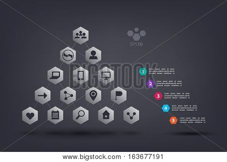 Vector pyramid infographics with web icons. Abstract element of chart, graph, diagram with 5 steps, options, parts, processes. Vector business template for presentation and training. Creative concept