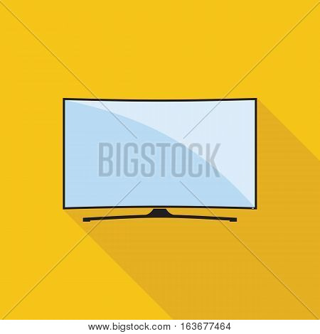 Modern curved TV icon in flat style. LED smart TV symbol isolated on yellow background. Vector eps8 illustration.