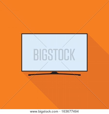 LED smart TV icon in flat style. TV symbol isolated on orange background. Vector eps8 illustration.