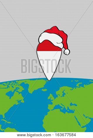 Earth with sea and continents and pointer with santa's hat. Pointer as a symbol of a place of Santa's home.