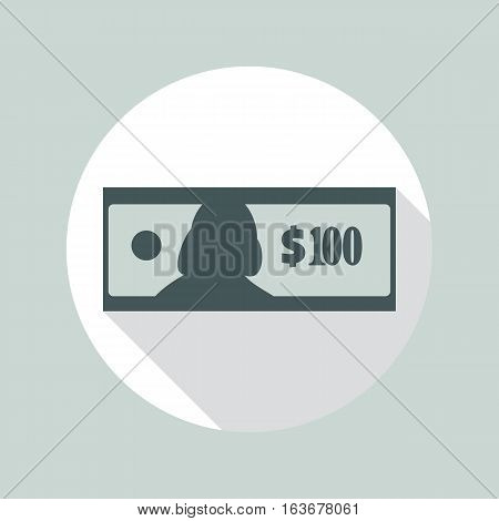 100 Dollars banknote flat icon. USA currency note symbol. One hundred bucks vector pictogram. Greenback stylized eps8 illustration.