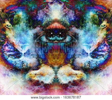 psychedelic eyes and eagle heads on multicolor abstract backgroung with ornamental pattern