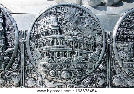 Beautiful Silver Stucco Thai Traditional Art