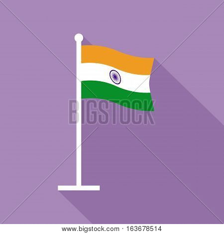 National flag of India on flagstaff. Flat icon of Indian flag. Vector illustration in EPS8 format.
