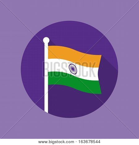 National flag of India on flagstaff inside circle. Flat icon of Indian flag. Vector illustration in EPS8 format.