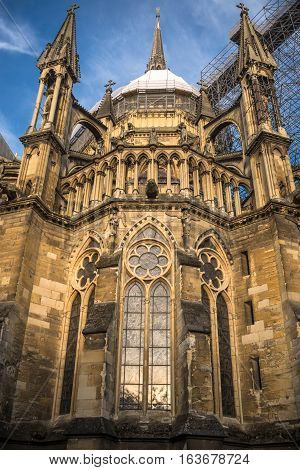 Bottom view on the back part of Reims cathedral under reconstruction, Champagne France