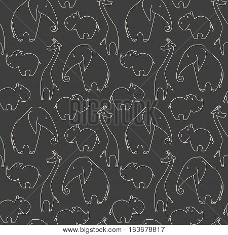 One line african animals seamless pattern on grey background