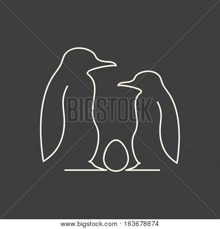 Linear illustration of penguin family with egg