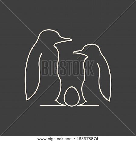 Linear illustration of penguin family with egg