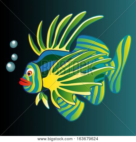 Exotic colorful fish. Abstract isolated fish on gr n background. Vector illustration