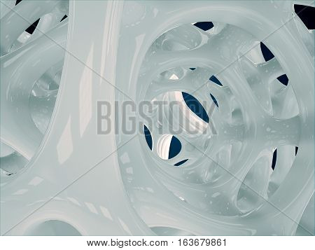 3d illustration of white abstract bionic structure on black background