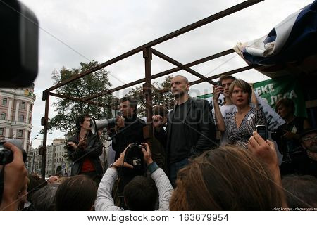 Moscow, Russia - August 22, 2010. Politicians Sergey Udaltsov and Evgeniya Chirikova at the rally in defense of Khimki forest, Pushkin square
