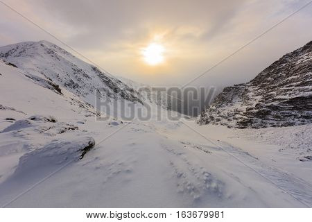 beautiful sunrise in the Fagaras Mountains Romania