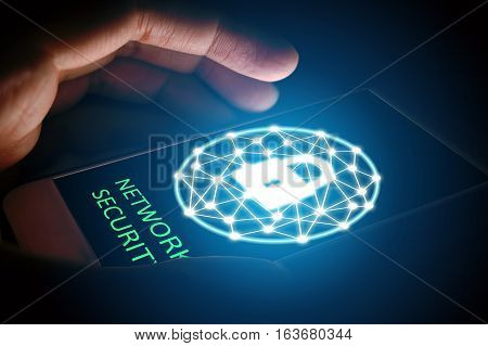 Cyber security network concept Man protect network in smartphone.