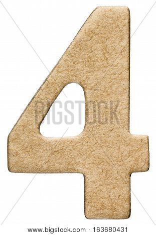 4, Four, Numeral From Cardboard, Isolated On White Background