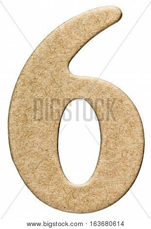 6, Six, Numeral From Cardboard, Isolated On White Background