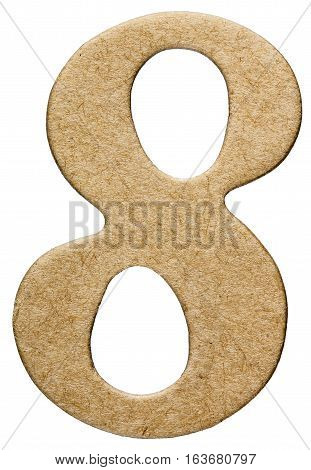 8, Eight, Numeral From Cardboard, Isolated On White Background