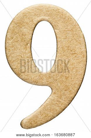 9, Nine, Numeral From Cardboard, Isolated On White Background