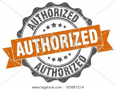 authorized. stamp. sign. seal. round. retro. ribbon