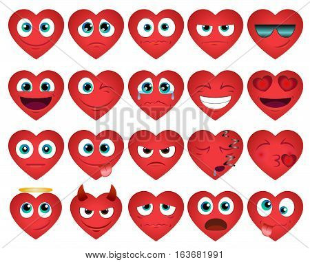 Emoticons or smileys hearts icons set for web