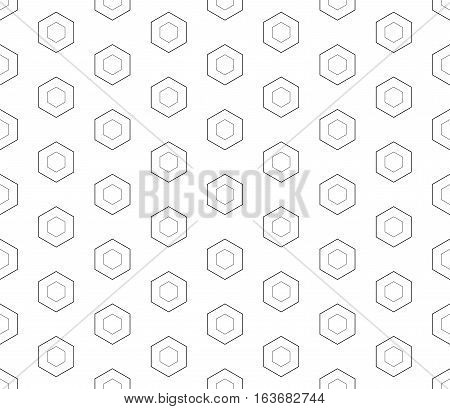 Vector monochrome seamless pattern, linear hexagons, black & white. Subtle geometric texture, thin lines. Modern clean background. Design for prints, decoration, digital projects, web, textile, identity, cover