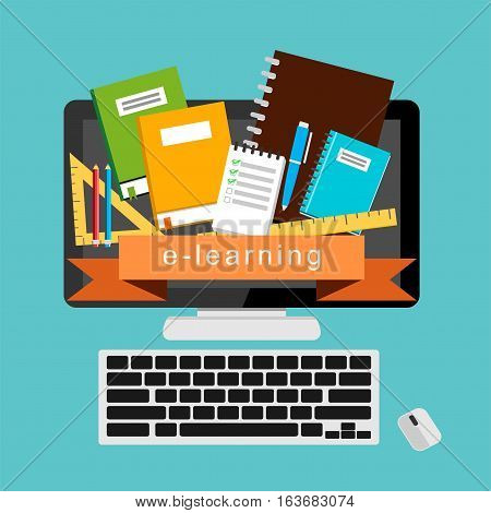 E-learning. E-book. Online education. College supplies concept
