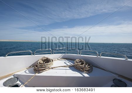 View From Bow Of A Large Private Motor Yacht Out At Sea