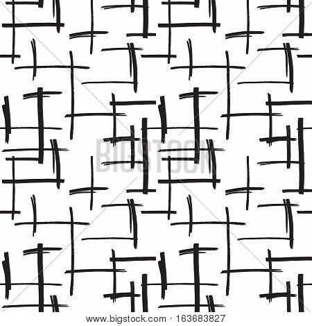 Marker strokes seamless pattern in black and white colors. Felt pen streaks hand drawn repeating texture. Abstract background for print, textile, fabric. Vector illustration in EPS8.