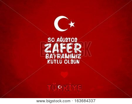 30 Agustos Zafer Bayrami. Greeting card Turkey National Day Victory 30 August