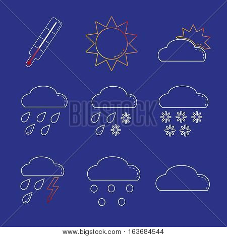 Weather sign icon set in line style on blue background