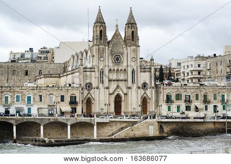 Gothic architecture at The Carmelite Church, St Julian, Malta