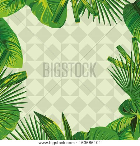 Frame of tropical green leaves in olive geometric background
