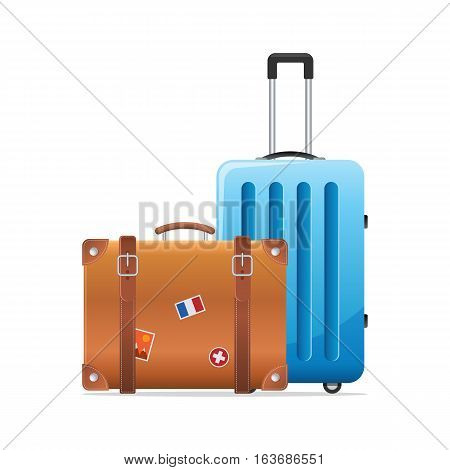 two luggage travel bags isolated on white background. Luggage icon.