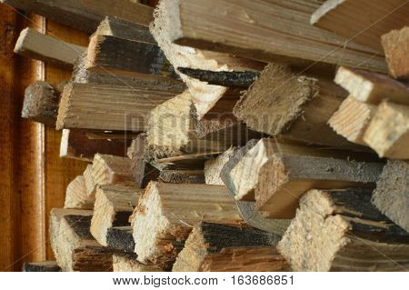 Firewood Background On A Stack
