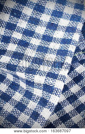 blue checkered tablecloth texture for background, copy space