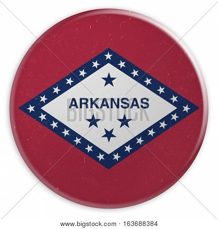 Vintage US State Button: Dirty Desaturated Arkansas Flag Badge 3d illustration on white background